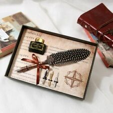 Retro Feather Quill Dip Pen Fountain Pens With Ink +3 Nibs Set Box Gift Teacher