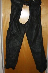 Harley Davidson Mens Medium Black Leather Motorcycle Chaps HD Biker Pants