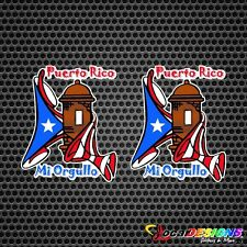 2x PUERTO RICO MI ORGULLO GARITA WITH FLAG VINYL CAR STICKERS DECALS