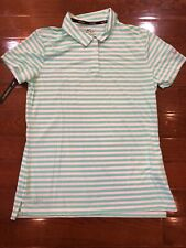 Womens Sz Medium Nike Polo Golf Shirt Green Striped