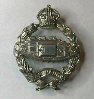 WW2 Royal Tank Regiment Cap Badge white Metal 2 lugs Kings Crown