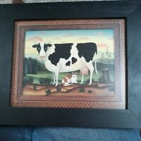 Diane Ulmer Pederson COW 1997 Folk Art Print w/ Black Frame Country Farm Cottage