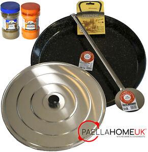 24cm - 80cm Professional Spanish Enamelled Paella Pan + Lid + Spoon +Paella Gift