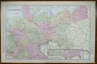 """Vintage 1900 GERMANY Atlas Map 22""""x14"""" ~ Old Antique BERLIN BADEN FRANCONIA"""
