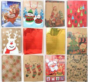 6 Christmas XL / XXL Size Gift Bags Present Xmas Wrapping Advent Santa