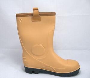 Size 12 Waterproof Tan Fleece Lined safety Rigger Wellington Boots Steel Toe