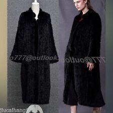 100% Real Hand Knit Farm Mink Fur Coat Outwear Jacket Women's Fur Coat -Custom -