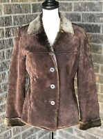 Murano Distressed Suede Leather Brown Womens Coat Jacket S Ranch Western Heavy