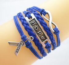 Infinity/Hope/Breast Cancer Awareness Sign Leather Braided Bracelet Dark Blue