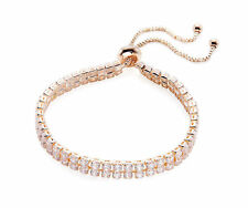 Rose Gold Tone 2 Row Cubic Zirconia Adjustable Tennis Bracelet