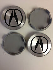 Set of 4 HONDA Face 69mm Clip 64mm ALLOY WHEELS CENTER CAPS SET  Silver / Black