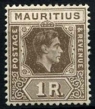 Mauritius 1938-49 SG#260b, 1R Grey-Brown KGVI MH Ord. Paper #D29957
