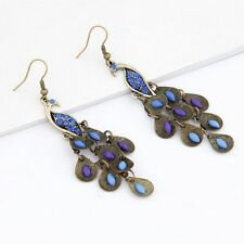 Boho Vintage Women Journey Phoenix Bird Earrings Pea Dangle Blue Rhinestone
