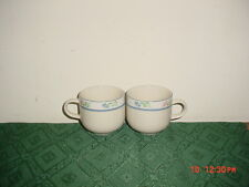 """2-PIECE TIENSHAN """"WILDFLOWERS"""" COFFEE CUPS/STAMPED/WHT-PINK-BLU-GRN/CLEARANCE!"""