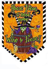 "Hocus Pocus Halloween Sculpted Garden Flag Witches Wine Evergreen 12.5"" x 18"""