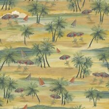 Paradise Delights Beach Scene Island Scenic 100% cotton fabric by the yard