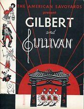 Vintage Playbill Program American Savoyards Gilbert & Sullivan Raedler 1953
