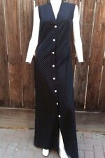 Vintage 60's 70's Fred Rothschild Maxi Dress Black White Polka Dots Long 4 6