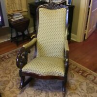Antique, possibly Walnut, Carved Lincoln Rocking Chair Local pickup
