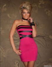 Women's Bandeau Dress Mini Dress Cocktail dress with stripes in leather look UK