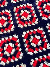 Vintage Granny Squares blanket crochet afghan Roseanne Big Bang Theory 70s mod