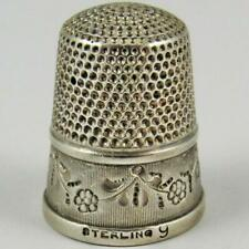 ANTIQUE SIMONS BROTHERS GARLAND ENGRAVED SIZE 9 STERLING SILVER SEWING THIMBLE