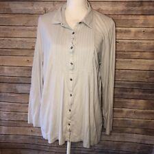 J. Jill Womens Bib Front Jersey Shirt Blouse Top Collar Long Sleeve XL V86