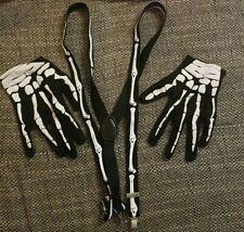 Karneval Fasching Halloween Skelett Handschuhe + Hosenträger