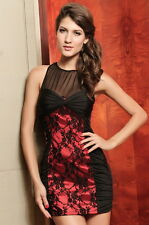 Elegant Evening Club Dress With Lace Black And Red Small