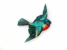 BEAUTIFULLY DETAILED VIBRANT BLUE & RED FLYING SWALLOW BIRD WOODEN BROOCH PIN