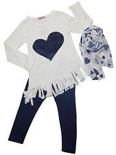 Abbigliamento Bambini.Completo Bambina Design Frange con Maglia a Sbiego.Tg.4-12
