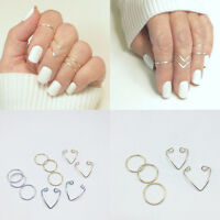 5Pcs/Set Fashion Women Gold Silver Above Knuckle Finger Ring Band_Midi