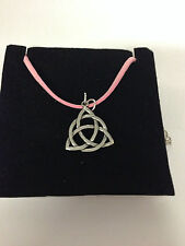 Celtic TRIQUETRA KNOT CTKPP  Pewter PENDENT ON A PINK CORD Necklace Handmade