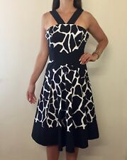 KAREN MILLEN Black Animal Print Designer Fit & Flare Halter Dress Sz 14 RRP $500