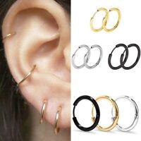 3 Pairs Men Women Punk Stainless Steel Ear Hoop Circle Earrings Jewelry Gift