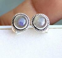 10.00 Cts Labradorite Round 925 Sterling Silver Dangle Earrings