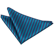 DQT Woven Thin Stripe Navy Blue & Teal Formal Handkerchief Hanky Pocket Square