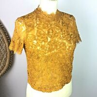 Zara Trafaluc Mustard Yellow Lace Cropped Top Party Blogger Chic Sz S 8 10