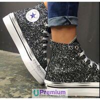 Converse All Star Platform Glitter Nere Hi [Prodotto Personalizzato] Scarpe Borc