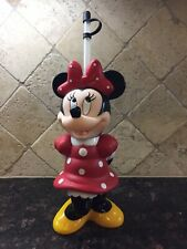"Vintage Disney 10"" Minnie Mouse Figurine Hard Plastic Drink Container With Straw"