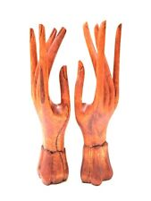 "Pair Of Hands Wood Jewelry Display Bracelet And Ring  Holder 7"" By Zenda Imports"