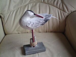 Wooden Standing Seagull Decoration, Nautical Seaside Shabby Chic,STYLE 2