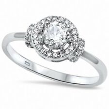 Halo Engagement Ring Round Cubic Zirconia 925 Sterling Silver Choose Color