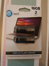 NEW Onn 2 PACK 16GB USB 2.0 Flash Drive Two Units sealed full retail package NIB