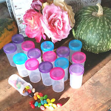 100 Party Pill Bottle Jars Pink Purple Aqua Lid Cap Top 2 ounce Container 4314