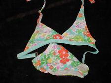 EUC Blue/Orange Tropical Floral Swimsuit Two Piece  size 14-16 GARAGE SALE