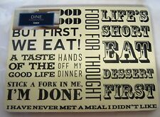 Pk 4 Cream with Black Text Script Detail Placemats Cork Back Food For Thought
