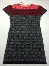 SURFACE TO AIR Red Black Gray Snowflake Print Wool Sweater Dress Women Sz 1 US S