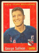 1959 60 TOPPS HOCKEY #59 GEORGE SULLIVAN VG-EX N Y RANGERS CARD