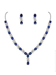 White gold finish love and kisses blue sapphire created diamond necklace set